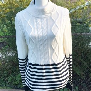 TALBOTS blue and white knit sweater